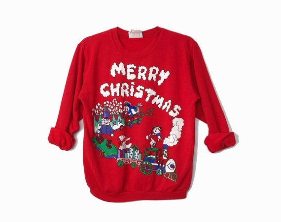 Merry Christmas Train - Vintage 90s Red Christmas Sweater / Toys Bears Candy Canes Sweatshirt / Tacky Ugly Party - Women's Small