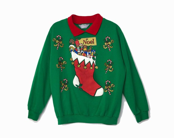 Vintage Elf Sweater - Green & Red Ugly Christmas Sweater / 90s Tacky Holiday Sweatshirt / Noel Candy Cane Stocking - women's medium