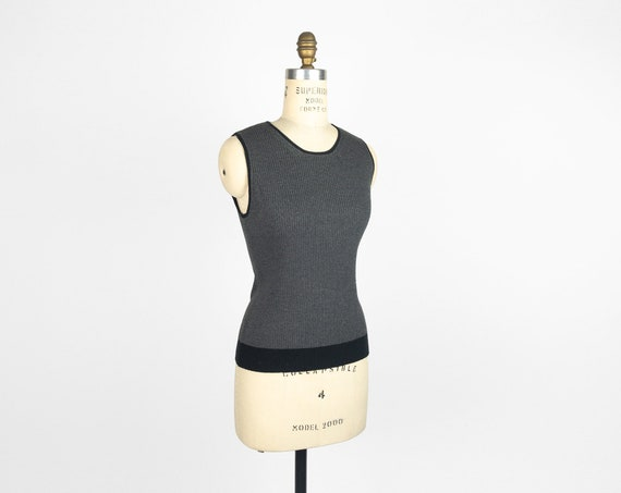 charcoal ribbed top | sleeveless
