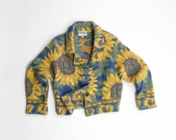 woven sunflowers jacket | 90s vintage