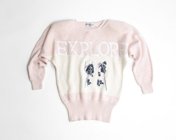 EXPLORE sweater | blush pink sweater | mountaineering expedition | mountain climbing