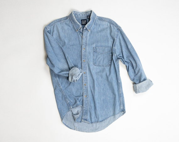 vintage men's denim shirt | 90s GAP denim boyfriend shirt | broken-in jean shirt - men's large