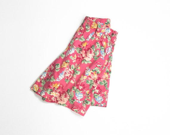 90s floral shorts in dark coral | pleated longline shorts