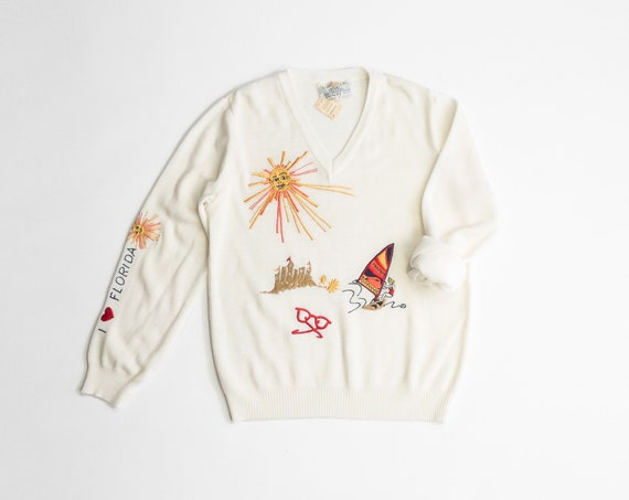 I love Florida sweater | 70s novelty sweater | ivory embroidered pullover