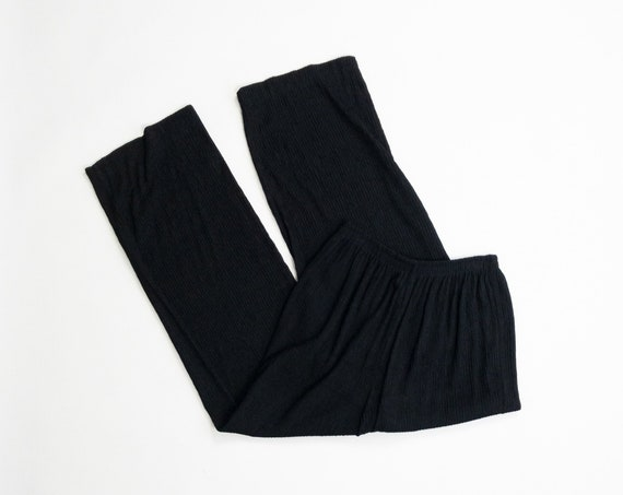 crinkled black lounge pants | wide leg pants | vintage 90s trousers - women's small