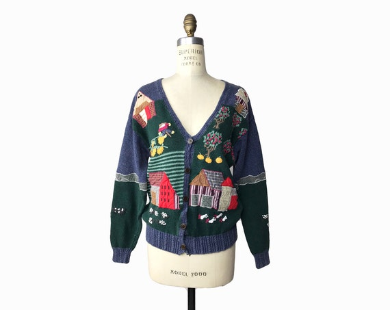 patchwork farm cardigan | embroidered cow sweater | apple orchard | vegetable garden - women's small/medium