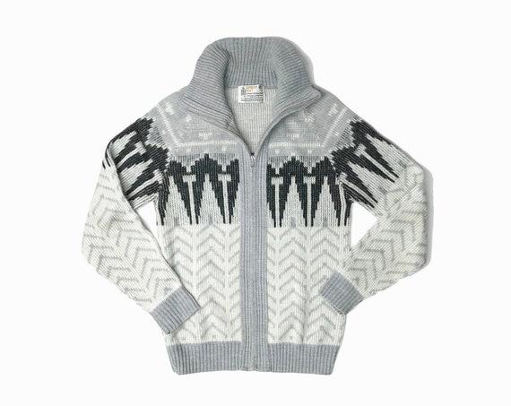 Men's Vintage Herringbone Sweater Jacket / 1980s Light Gray Nordic Winter Coat / Boyfriend Sweater - men's small