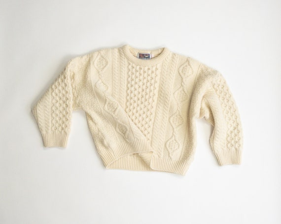 Irish wool sweater | natural wool fisherman sweater | cropped | ivory cable knit - women's small/medium