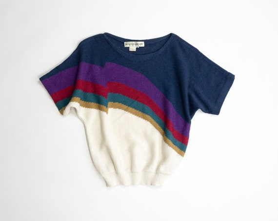 vintage rainbow sweater | short sleeve sweater | boatneck sweater | spring sweater - women's medium