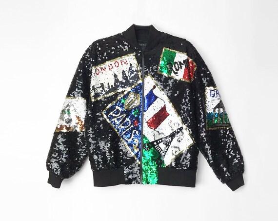 black sequined silk bomber jacket | Paris London Rome | 90s sequin novelty jacket | world traveler - women's xs
