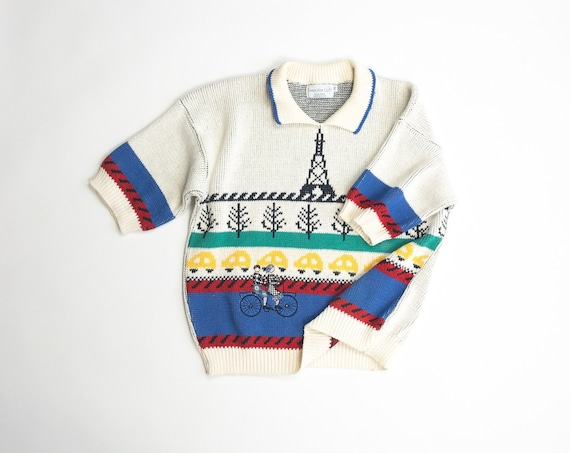 Parisian bicycle sweater | French sweater | Eiffel Tower | tandem bicycle - women's small