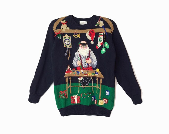 Vintage 90s Ugly Christmas Sweater / 3D Santa's Workshop Sweater / Vintage Tacky Sweater - women's small