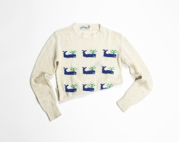 blue whale sweater | textured vintage sweater