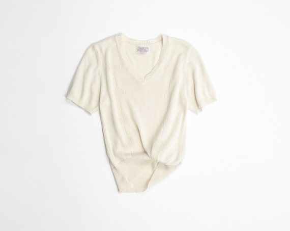 eggshell diamond knit top | v-neck