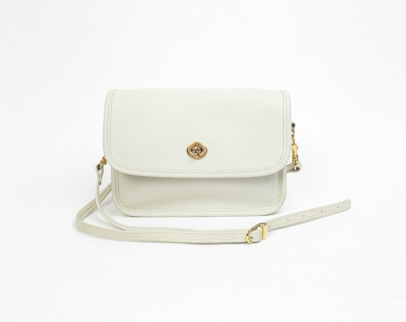 ivory leather crossbody bag | turnlock purse