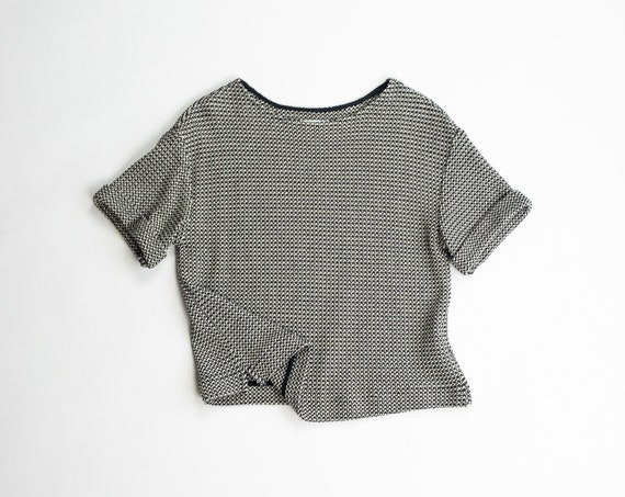STEVEN ALAN Boxy Knit Top in Black & Cream | Textured Cotton Top