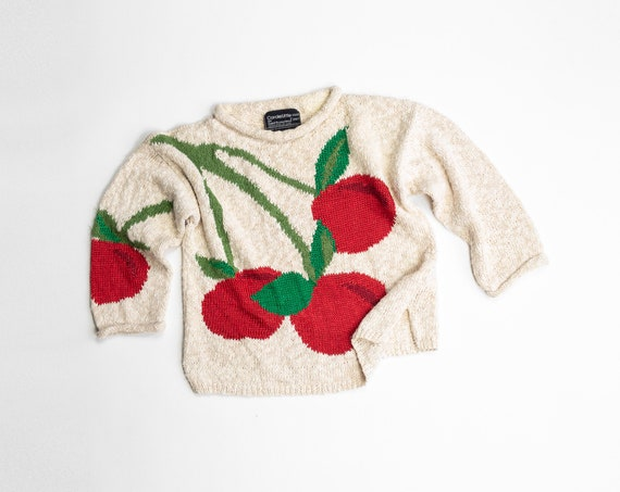 vintage cherry sweater | fruit sweater | red cherries | hand knit