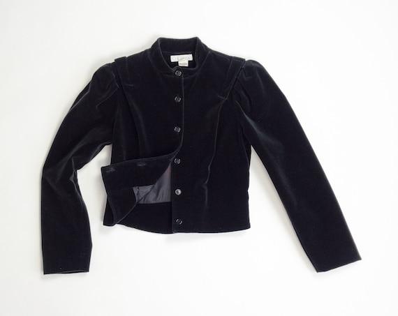 black velvet jacket | victorian jacket | cropped velvet jacket | 1980s does 1900s - petite small