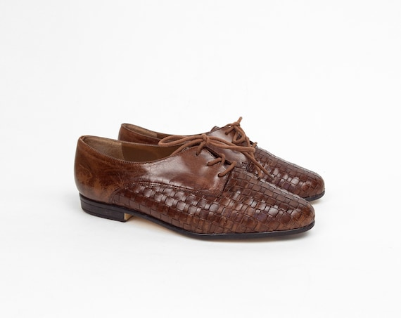 umber brown leather oxfords | woven leather shoes