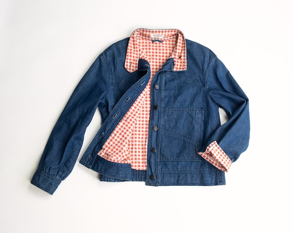 70s blue jean jacket | vintage denim jacket | red gingham plaid lining | geometric pockets