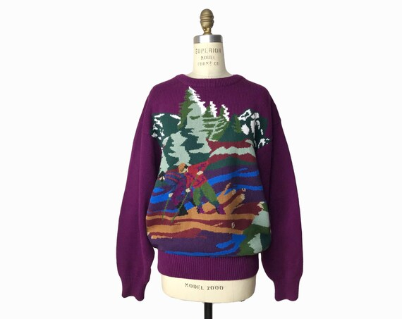 purple lumberjack sweater | log rolling woodsman | bearded mountain man sweater - men's medium