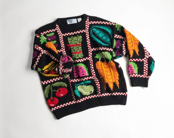 fruits and vegetables sweater | garden sweater | farmer's market sweater - women's medium
