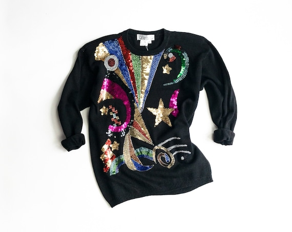 beaded black sweater | celestial shapes