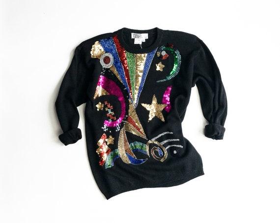 beaded black sweater | celestial shapes | stars moon rainbow | cosmic alchemy
