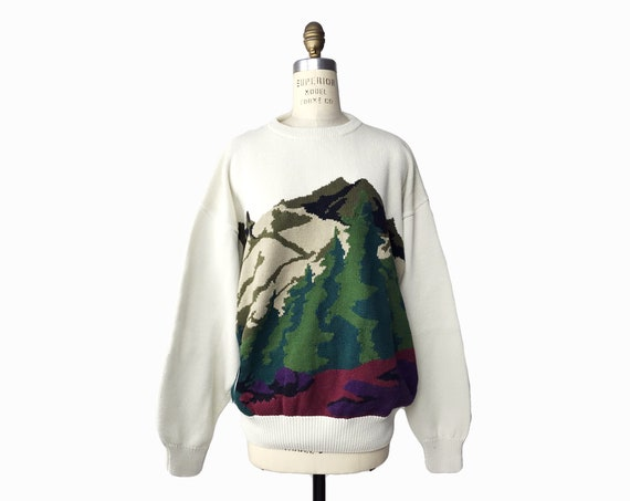 mountains and forest sweater | woodsy hiking crewneck | boyfriend nature sweater - men's xl