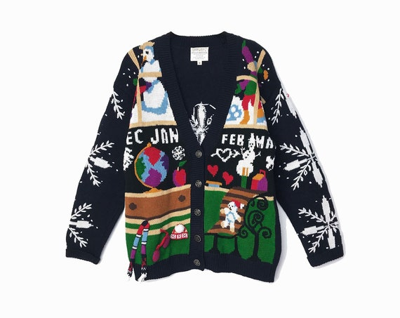 Winter Seasons Teacher Sweater - Vintage 90s Embroidered Cardigan / Snowflakes Snowman Globe / Ugly Tacky Party - women's small