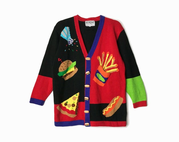 fast food sweater | 90s novelty cardigan