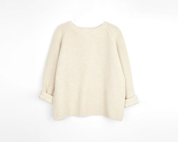 ivory raglan sweater | boxy pullover | natural cotton sweater - women's medium/large