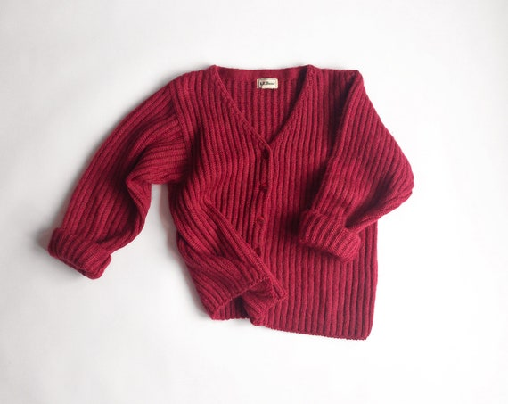 Vintage 90s Raspberry Mohair Cardigan Sweater by L.L. Bean / Cozy Sweater - women's medium