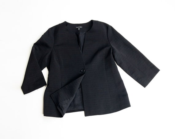 EILEEN FISHER textural black jacket | micro-ribbed jacket