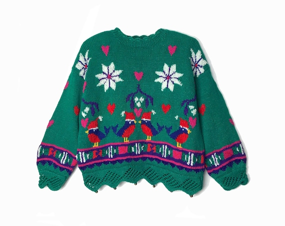 Vintage 90s Christmas Sweater / Love Birds Holiday Party Sweater / Snowflake Mistletoe Bells / Hand Knit Chenille - women's medium