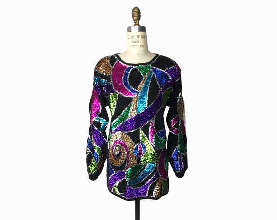 black sequined angora sweater | trophy top | rainbow shapes tunic - women's small/medium
