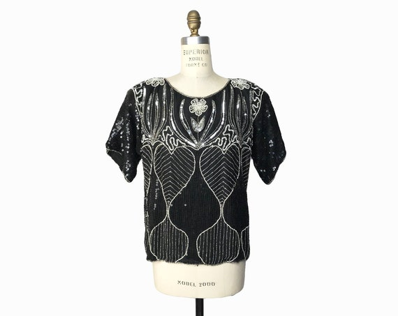 Vintage Beaded Silk Sequin Art-Deco Hearts Top / Brilliant 80s Blouse / Floral Trophy Top / Gatsby Party - women's small/medium