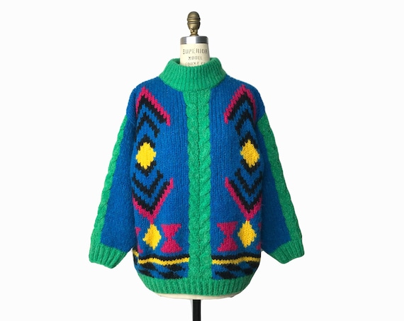 Vintage 90s Colorful Mohair Tunic Sweater / Tribal Cable Knit Mockneck Sweater / Oversized Fuzzy Sweater - women's medium