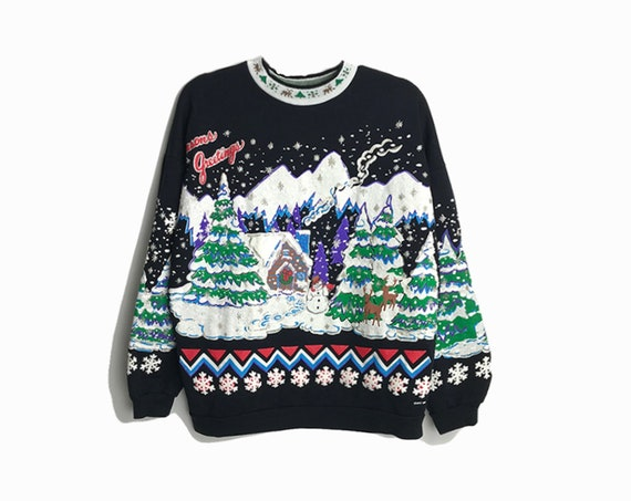 90s Black Ugly Christmas Sweater / Vintage Tacky Sweater with Puff Paint / Holiday Sweatshirt / Gingerbread House - Women's Small/Medium
