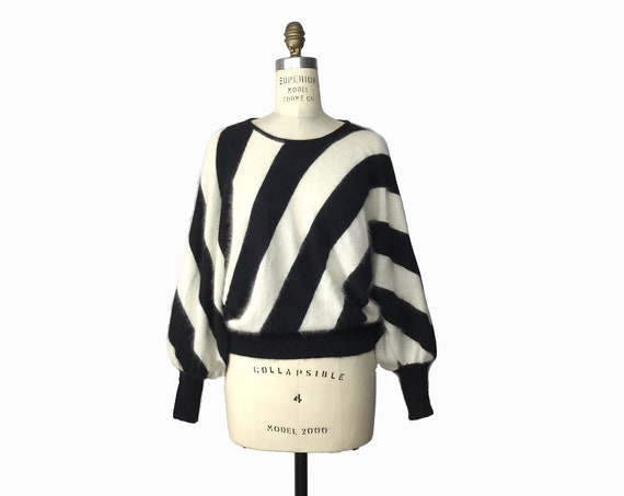 Vintage 90s Sweater - Black & White Striped Angora Sweater / Fuzzy Dolman Sleeve Knit Top / Zebra Referee Bold Delicate- women's small