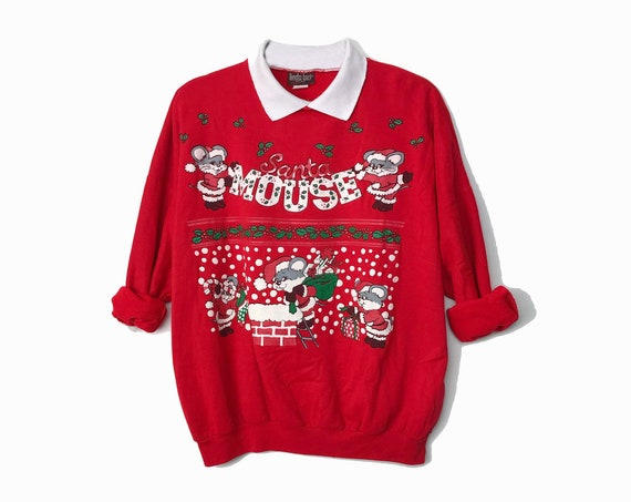 Santa Mouse - Vintage 90s Red Christmas Sweater / Santa Claus Mice / Tacky Ugly Party Sweatshirt - Women's One Size Fits All
