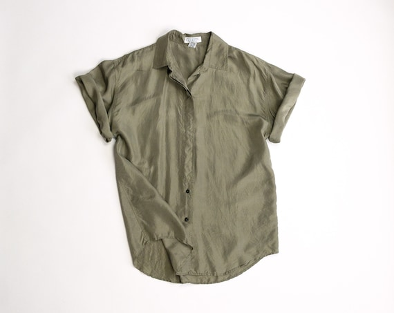 olive green silk shirt | 90s silk boyfriend shirt | oversized short sleeve shirt