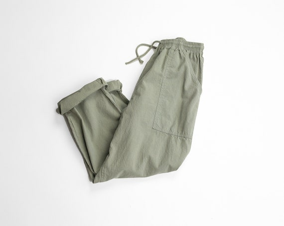 sunwashed cotton pants | sage green