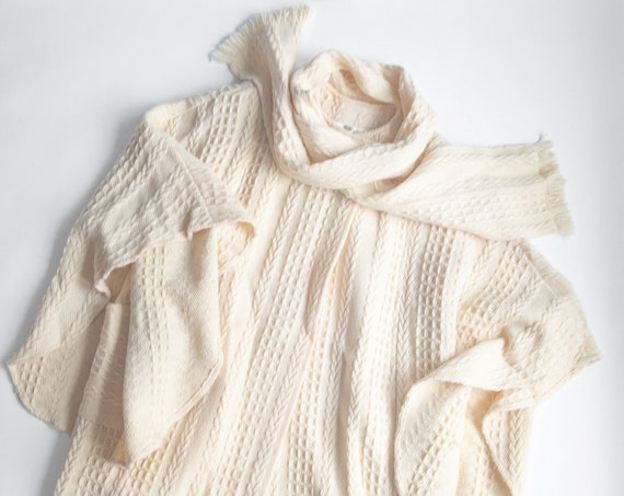 Irish wool cable knit poncho | cream cape coat with scarf - one size