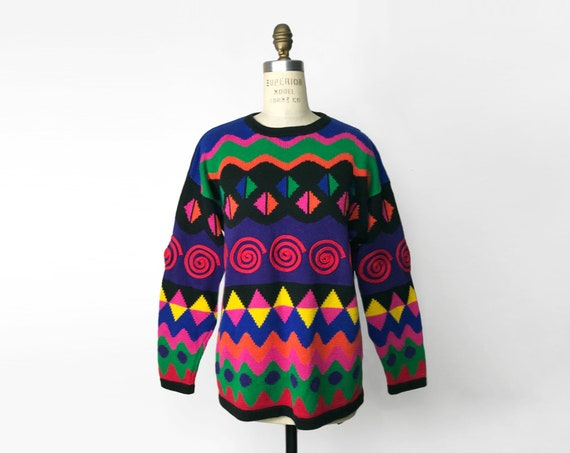 1990s geometric rainbow sweater