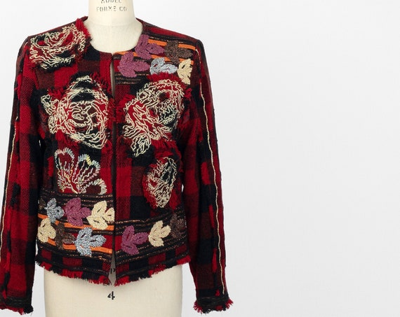 embellished red plaid jacket with metallic gold roses | fringed red plaid coat