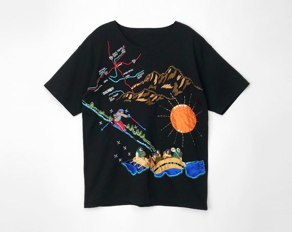 vintage Colorado tourist tee | black beaded t-shirt | ski | white water rafting | rocky mountains - women's large