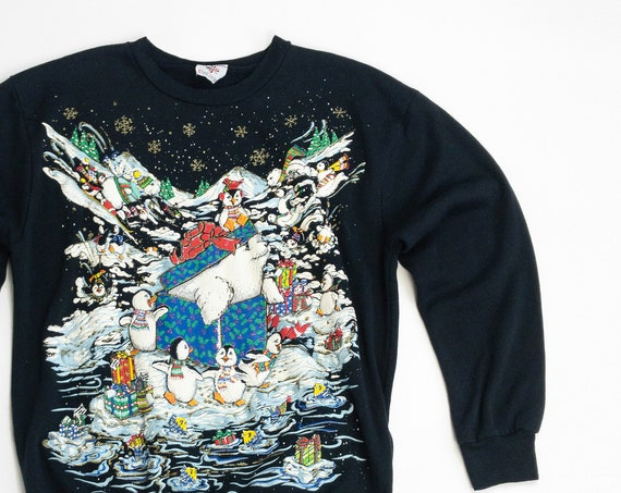 cute penguin Christmas sweater | 90s vintage ugly sweater