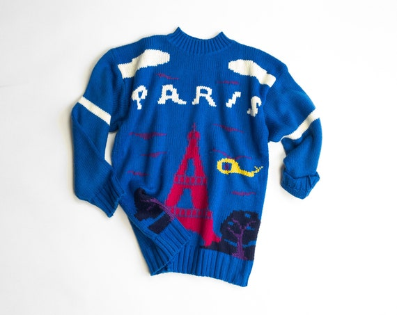 blue Eiffel Tower sweater | French sweater | Paris France