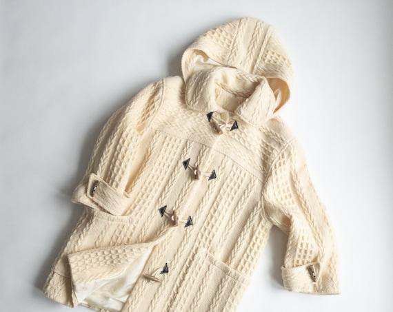 Irish wool toggle coat | cream fisherman coat | ivory cable knit jacket / hooded coat - women's small
